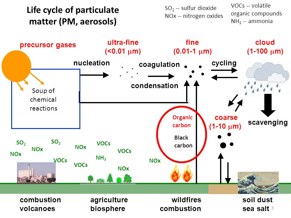 3 Life cycle of particulate matter (PM, aerosols) nucleation coagulation condensation wildfires combustion soil dust sea salt...... cycling ultra-fine