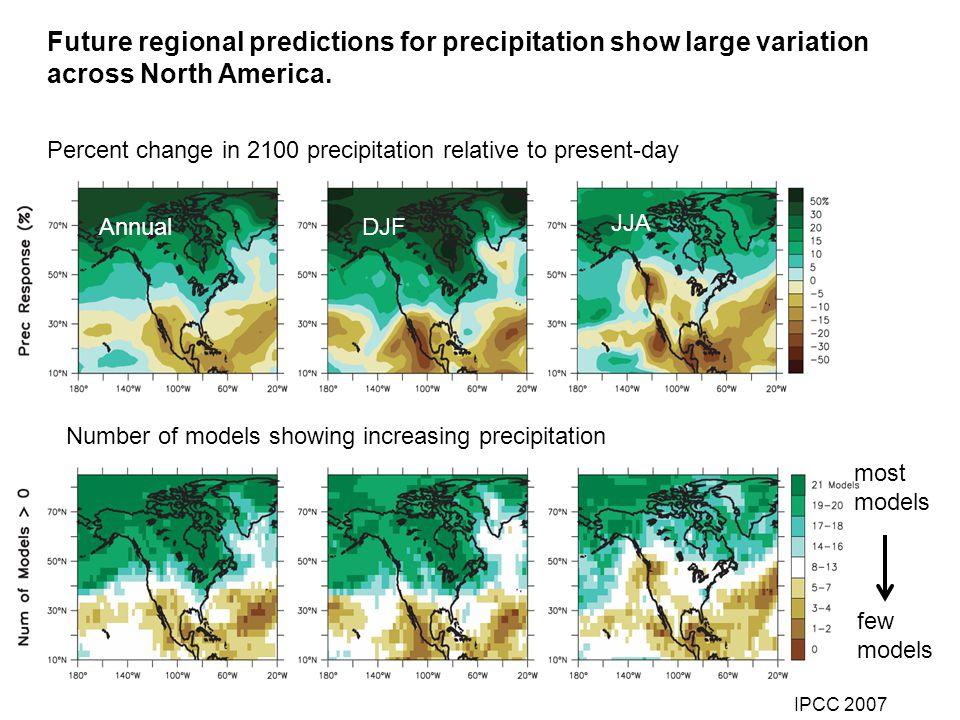 Future regional predictions for precipitation show large variation across North America. Percent change in 2100 precipitation relative to present-day