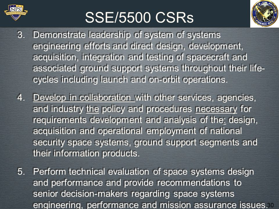 30 SSE/5500 CSRs 3.Demonstrate leadership of system of systems engineering efforts and direct design, development, acquisition, integration and testing of spacecraft and associated ground support systems throughout their life- cycles including launch and on-orbit operations.