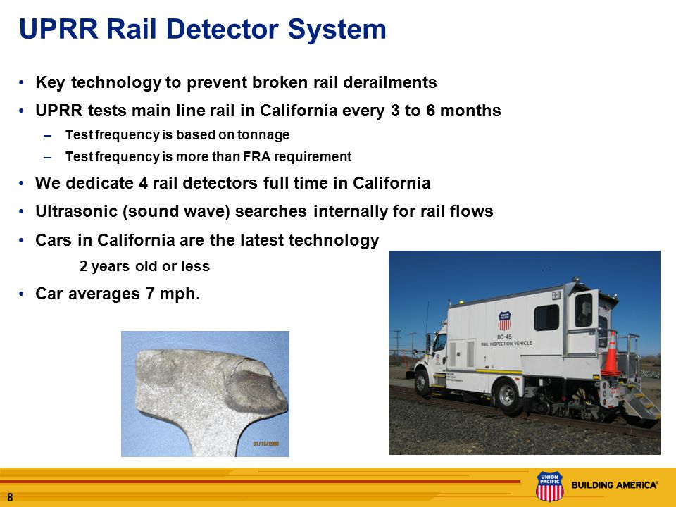 9 UPRR – Capital Track Maintenance projects in California Last 5 years, UP has replaced 2,054,000 ties and 452 miles of rail in California.