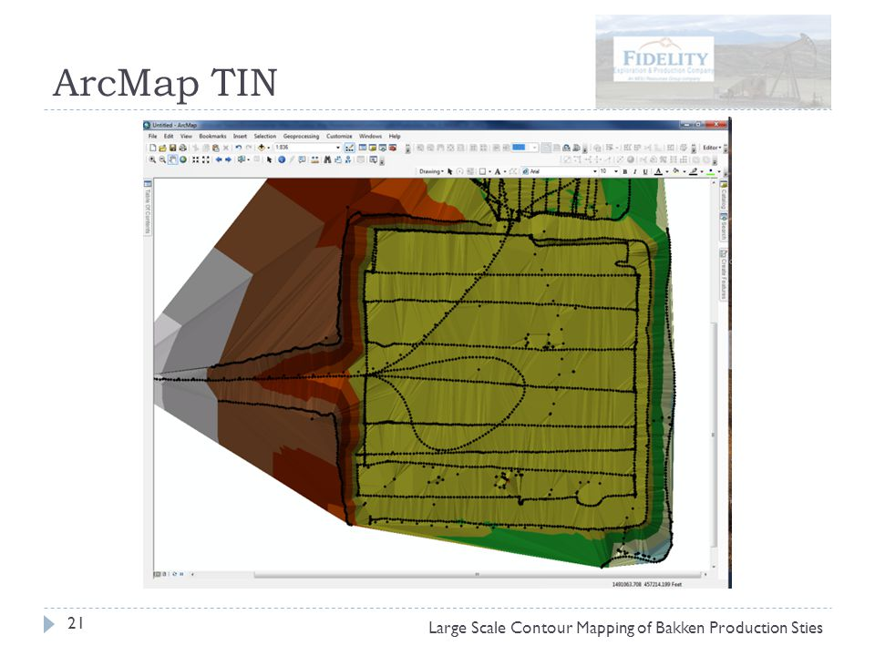 ArcMap TIN 21 Large Scale Contour Mapping of Bakken Production Sties