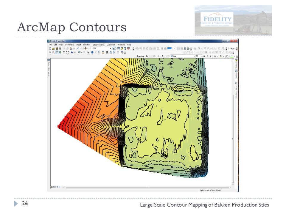 ArcMap Contours 26 Large Scale Contour Mapping of Bakken Production Sties