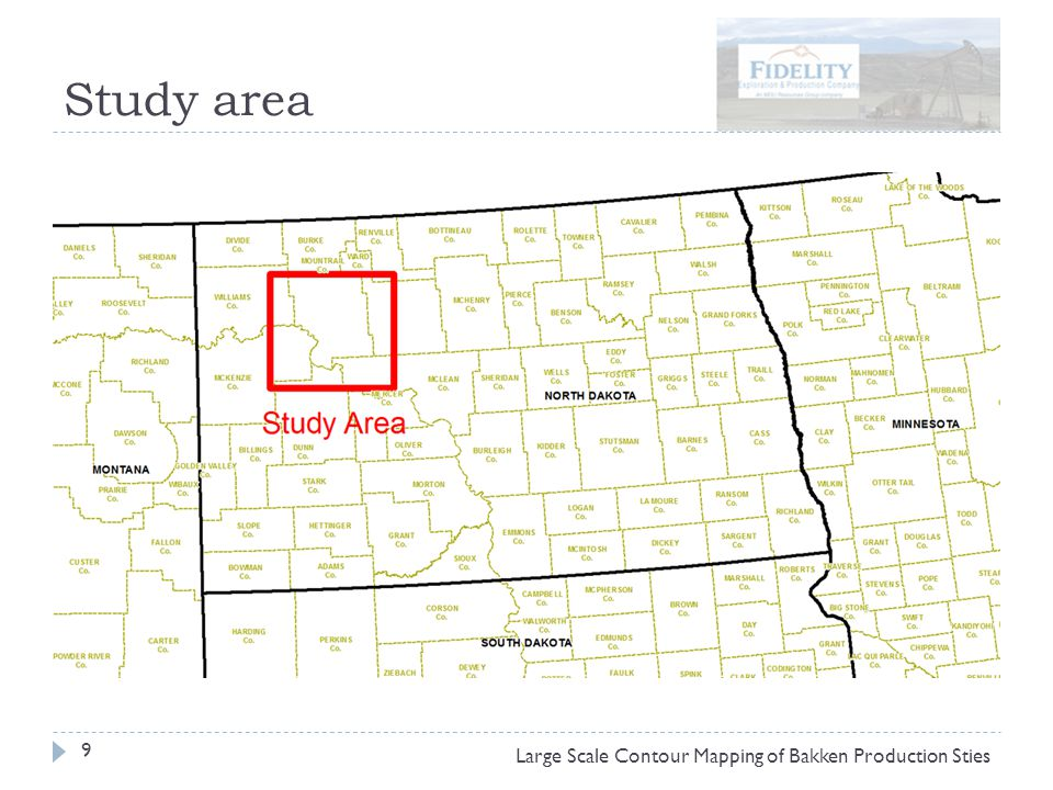 Study area 9 Large Scale Contour Mapping of Bakken Production Sties