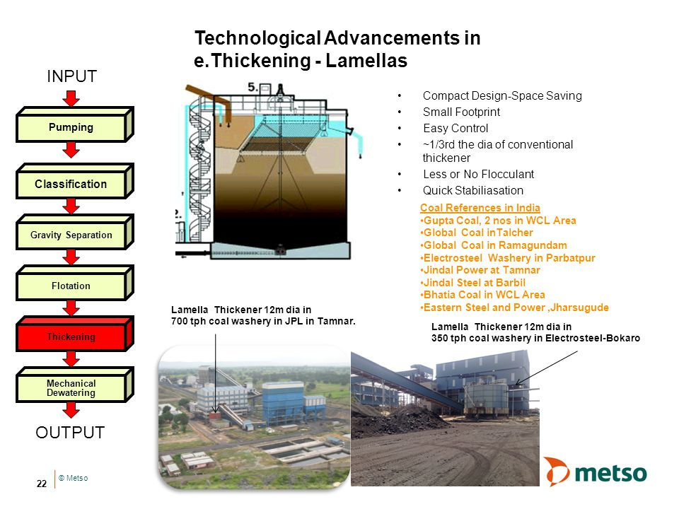 © Metso 22 Technological Advancements in e.Thickening - Lamellas Lamella Thickener 12m dia in 700 tph coal washery in JPL in Tamnar.