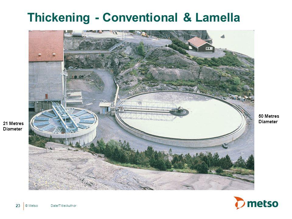 © Metso Thickening - Conventional & Lamella 23 Date/Title/Author 21 Metres Diameter 50 Metres Diameter
