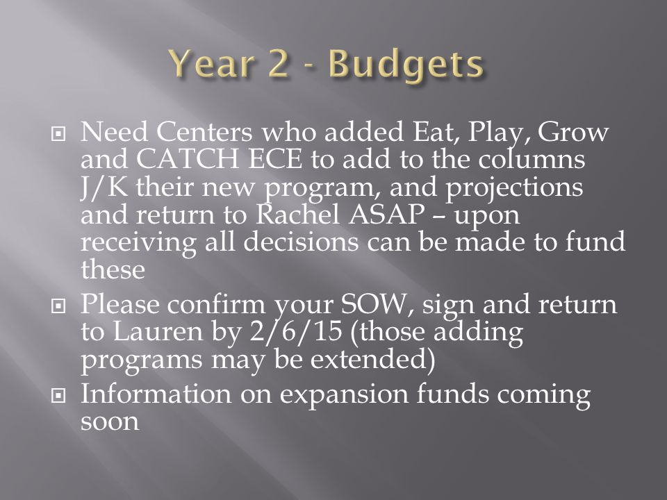  Need Centers who added Eat, Play, Grow and CATCH ECE to add to the columns J/K their new program, and projections and return to Rachel ASAP – upon receiving all decisions can be made to fund these  Please confirm your SOW, sign and return to Lauren by 2/6/15 (those adding programs may be extended)  Information on expansion funds coming soon