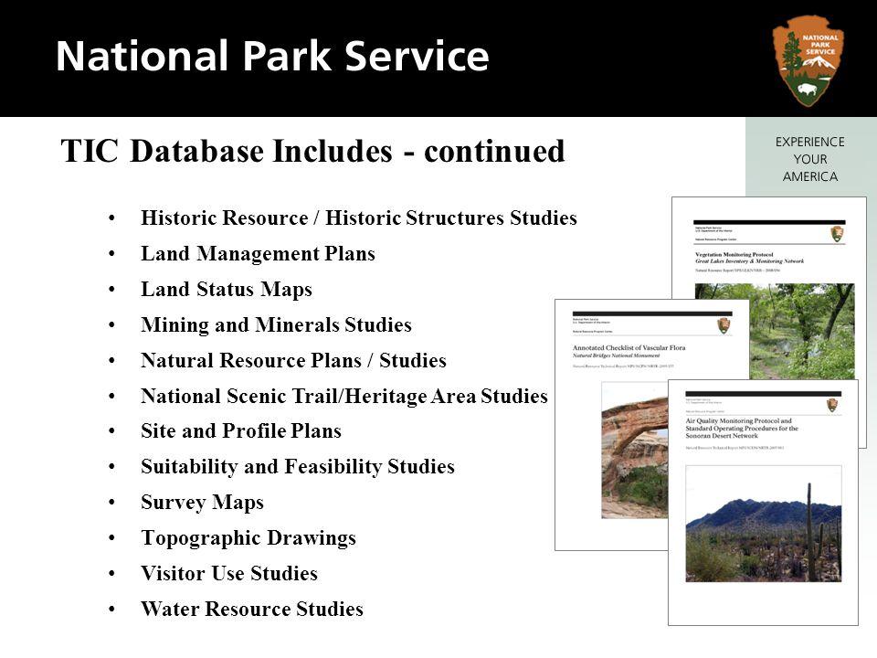 Historic Resource / Historic Structures Studies Land Management Plans Land Status Maps Mining and Minerals Studies Natural Resource Plans / Studies Na