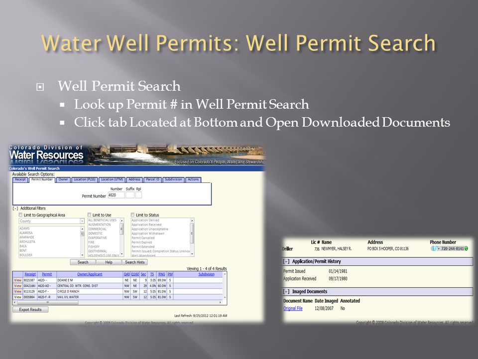 Water Well Permits: Well Permit Search  Well Permit Search  Look up Permit # in Well Permit Search  Click tab Located at Bottom and Open Downloaded Documents