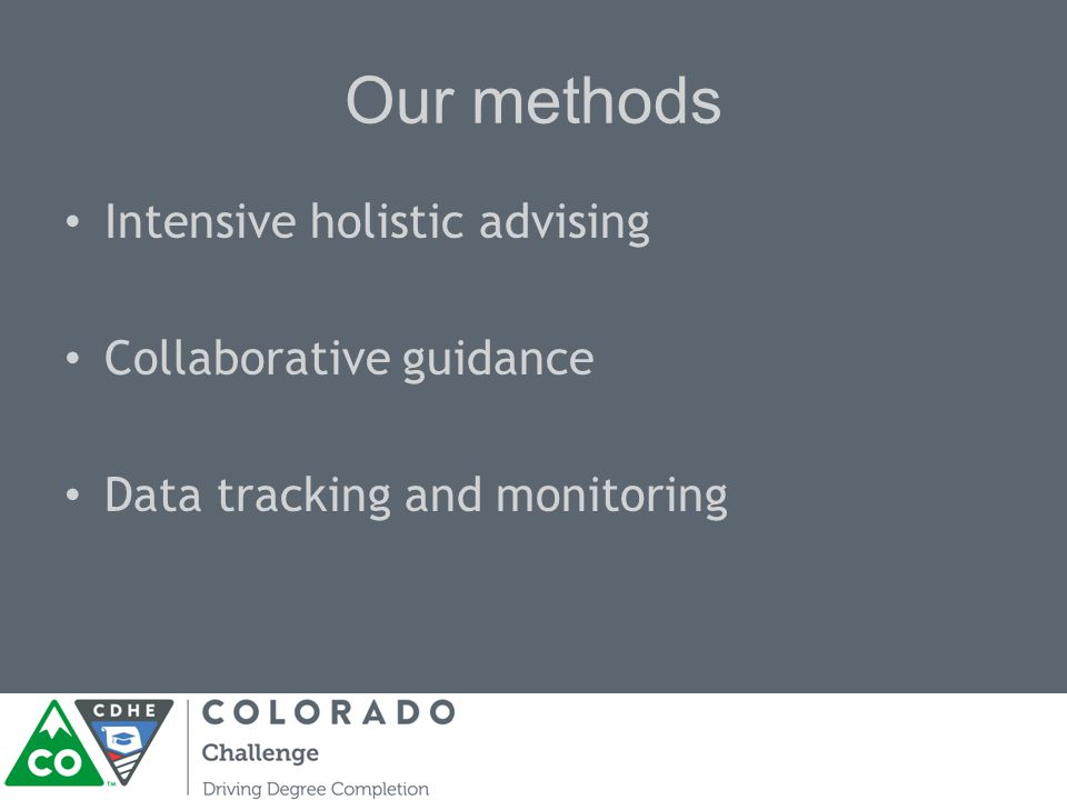 Our methods Intensive holistic advising Collaborative guidance Data tracking and monitoring