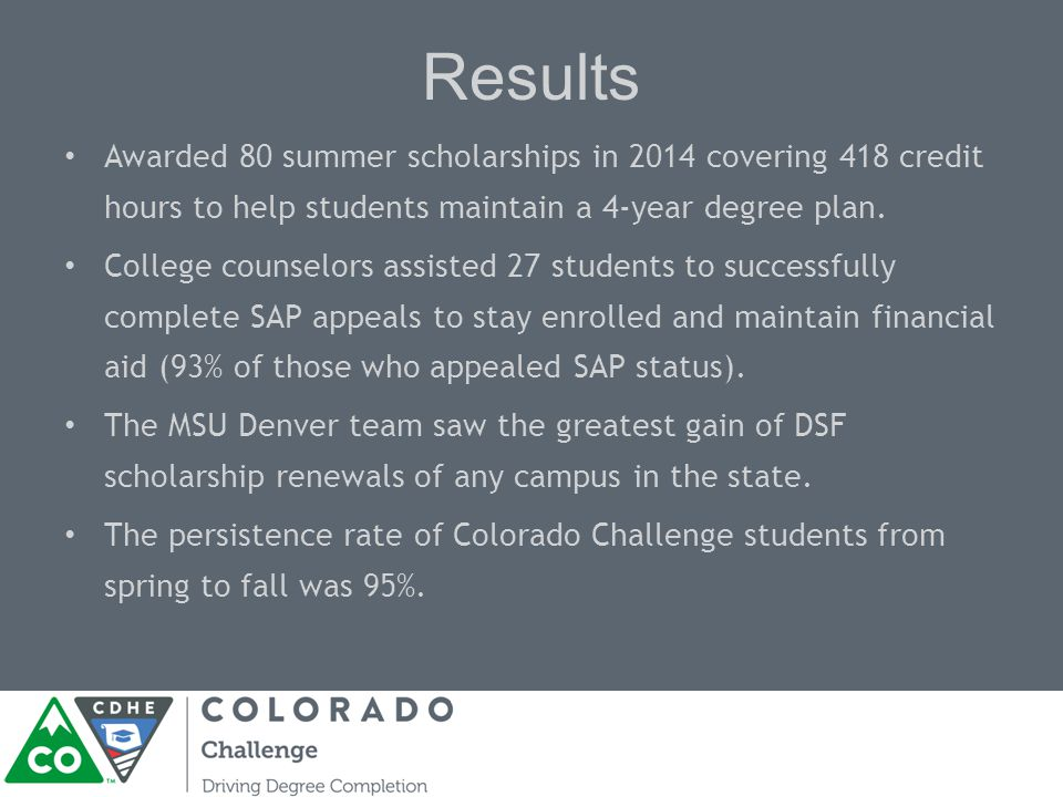 Results Awarded 80 summer scholarships in 2014 covering 418 credit hours to help students maintain a 4-year degree plan.