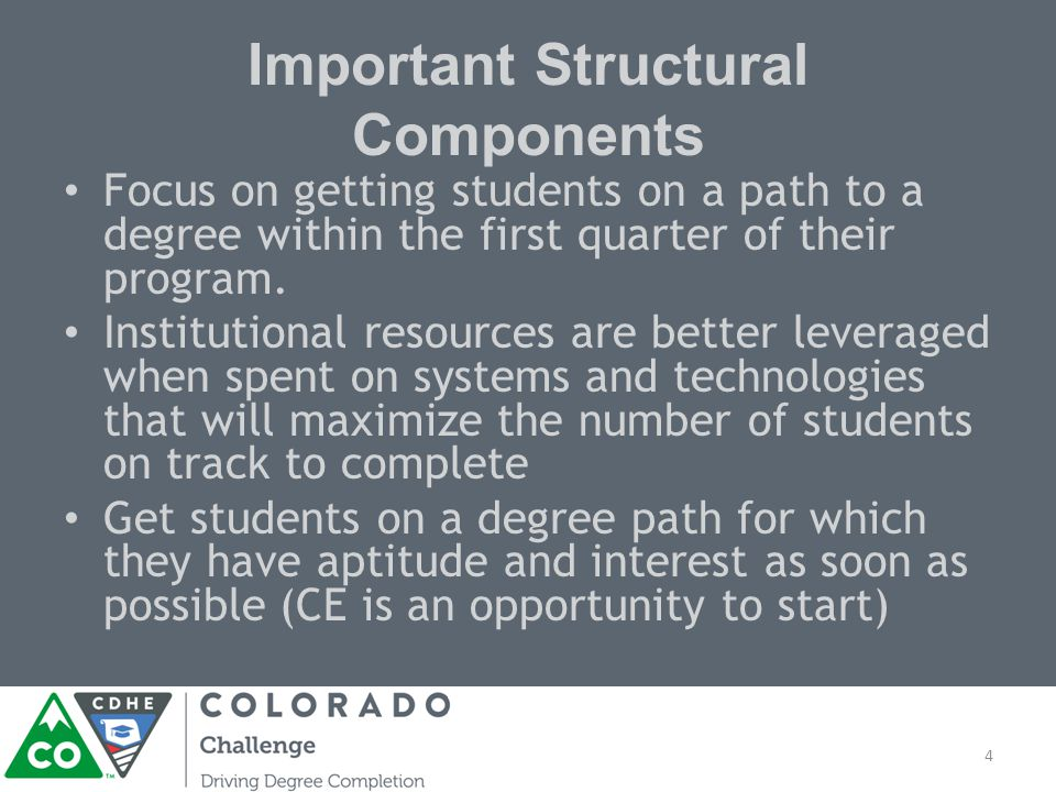 Important Structural Components Focus on getting students on a path to a degree within the first quarter of their program.