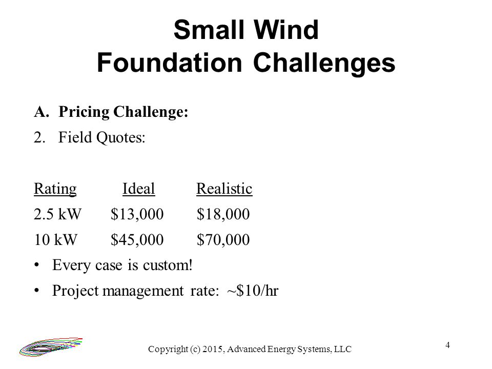5 Small Wind Foundation Challenges B. Cases Copyright (c) 2015, Advanced Energy Systems, LLC