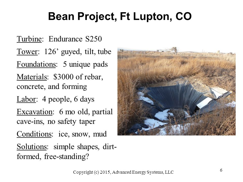 7 Bean Project, Ft Lupton, CO Copyright (c) 2015, Advanced Energy Systems, LLC