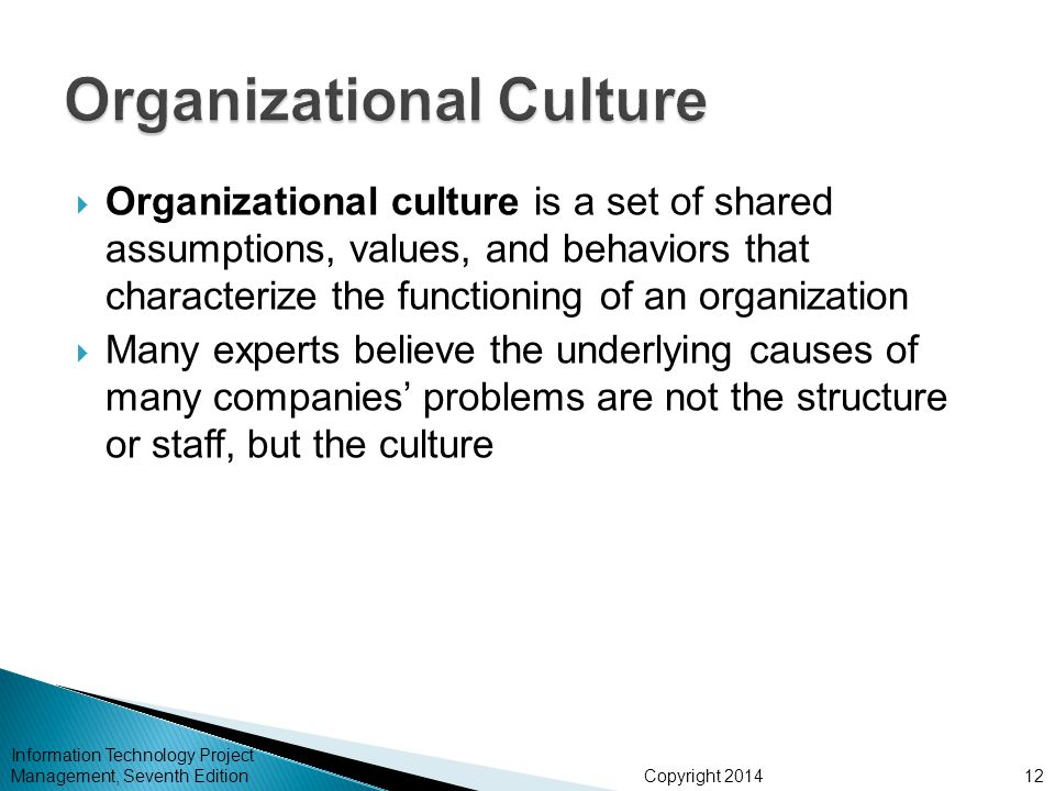 Copyright 2014  Organizational culture is a set of shared assumptions, values, and behaviors that characterize the functioning of an organization  M