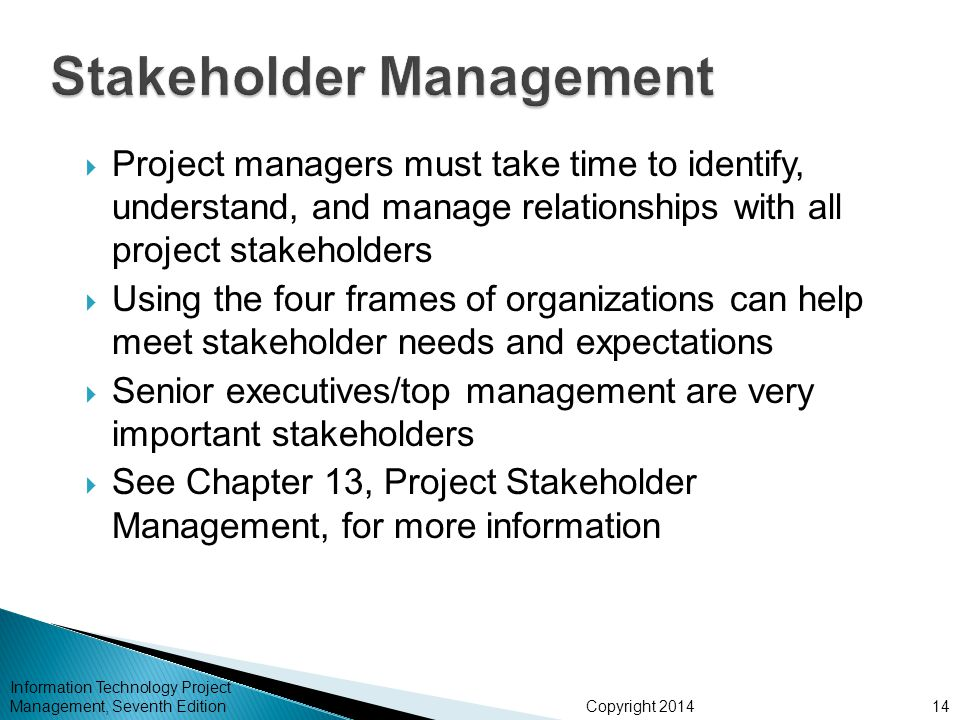 Copyright 2014  Project managers must take time to identify, understand, and manage relationships with all project stakeholders  Using the four fram