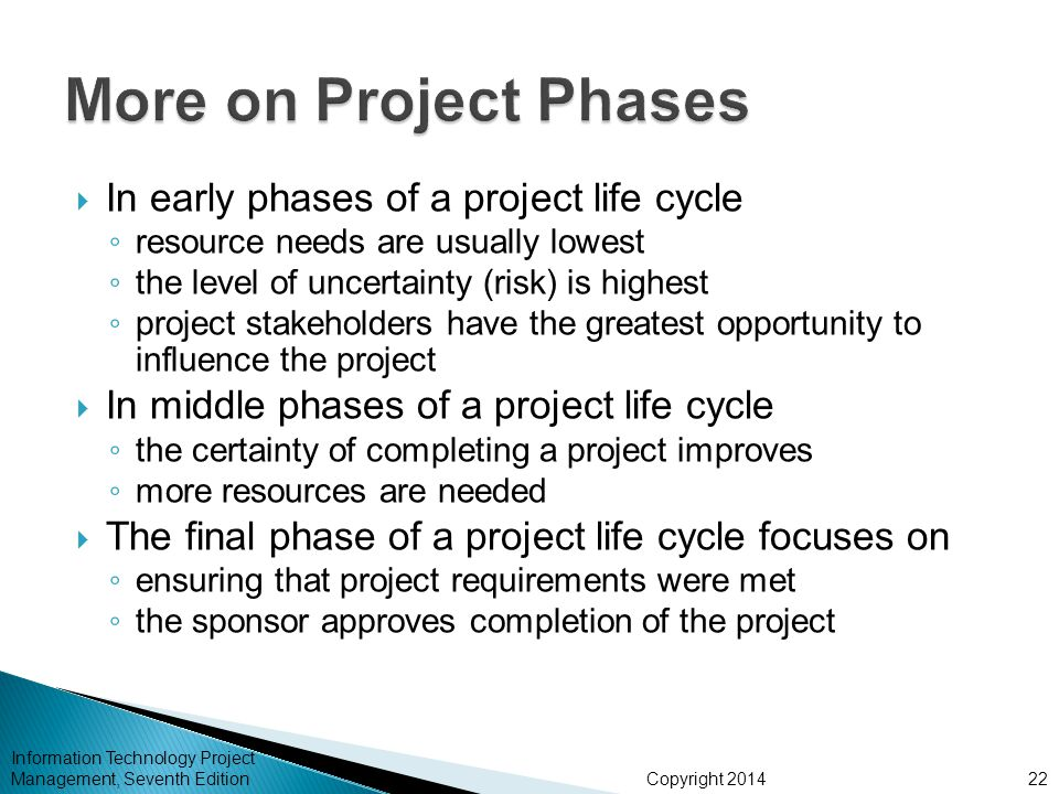 Copyright 2014  In early phases of a project life cycle ◦ resource needs are usually lowest ◦ the level of uncertainty (risk) is highest ◦ project st