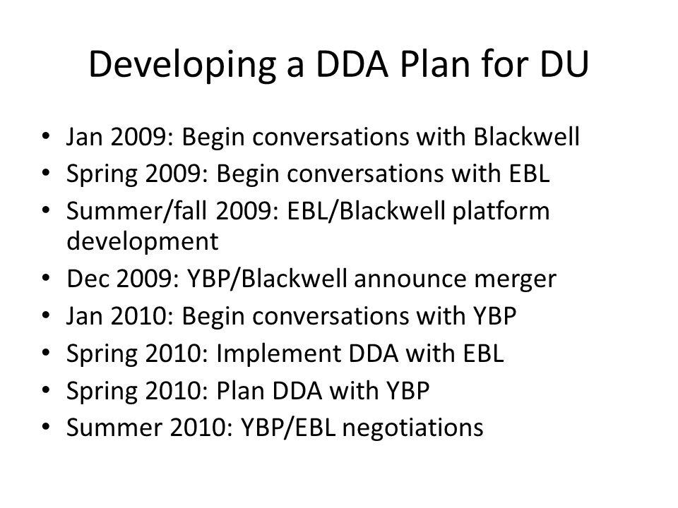 Developing a DDA Plan for DU Jan 2009: Begin conversations with Blackwell Spring 2009: Begin conversations with EBL Summer/fall 2009: EBL/Blackwell platform development Dec 2009: YBP/Blackwell announce merger Jan 2010: Begin conversations with YBP Spring 2010: Implement DDA with EBL Spring 2010: Plan DDA with YBP Summer 2010: YBP/EBL negotiations