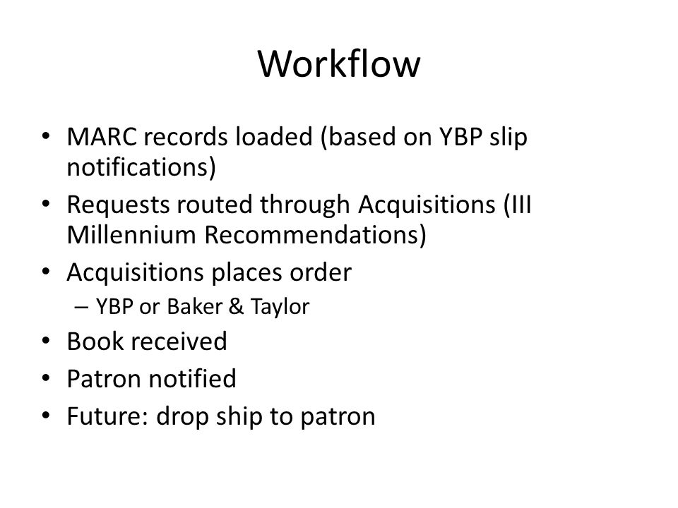 Workflow MARC records loaded (based on YBP slip notifications) Requests routed through Acquisitions (III Millennium Recommendations) Acquisitions places order – YBP or Baker & Taylor Book received Patron notified Future: drop ship to patron
