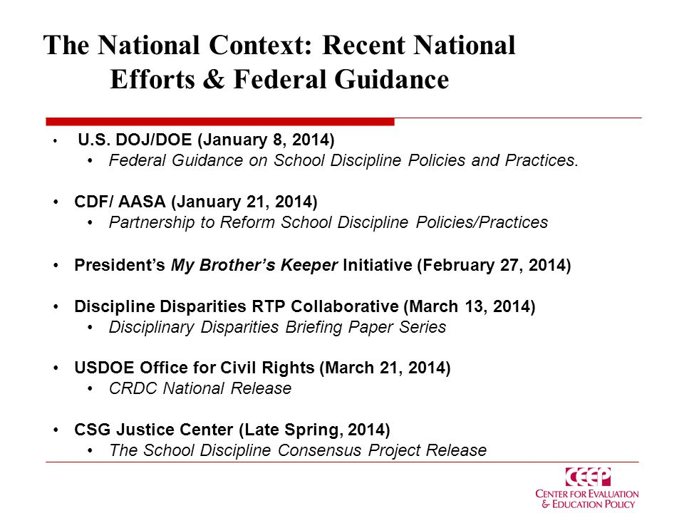 The National Context: Recent National Efforts & Federal Guidance U.S.