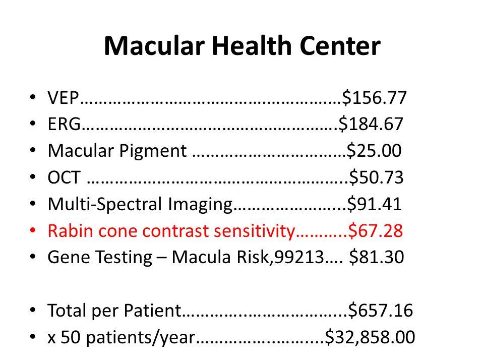 Macular Health Center VEP………………………………….………….…$156.77 ERG……………………………………………….$184.67 Macular Pigment ……………………………$25.00 OCT ………………………………………………..$50.73 Mu