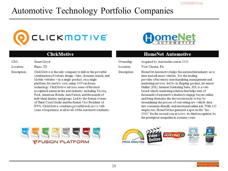 CONFIDENTIAL - DRAFT 10 Automotive Technology Portfolio Companies CEO: Stuart Lloyd Location:Plano, TX Description :ClickMotive is the only company to