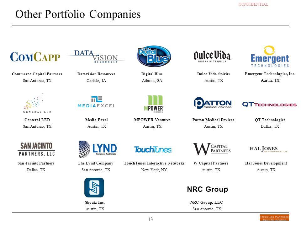 CONFIDENTIAL - DRAFT 13 Other Portfolio Companies Commerce Capital Partners San Antonio, TX Datavision Resources Carlisle, IA Dulce Vida Spirits Austi