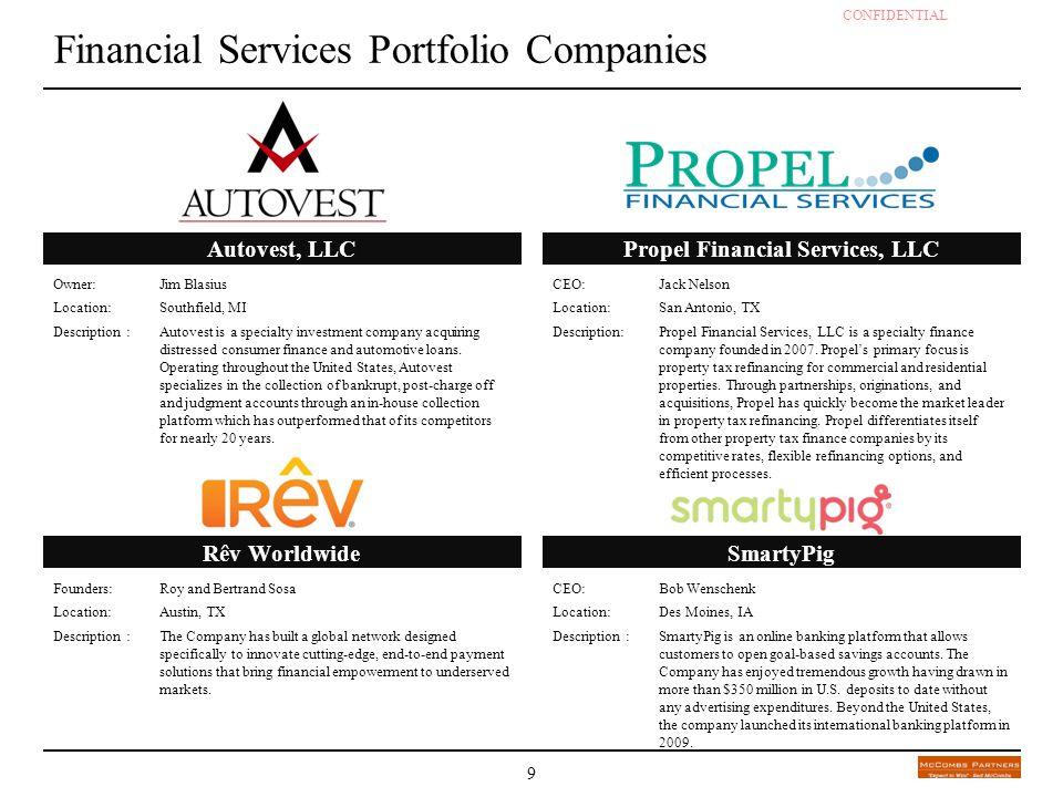 CONFIDENTIAL - DRAFT 9 Financial Services Portfolio Companies Owner: Jim Blasius Location:Southfield, MI Description :Autovest is a specialty investme