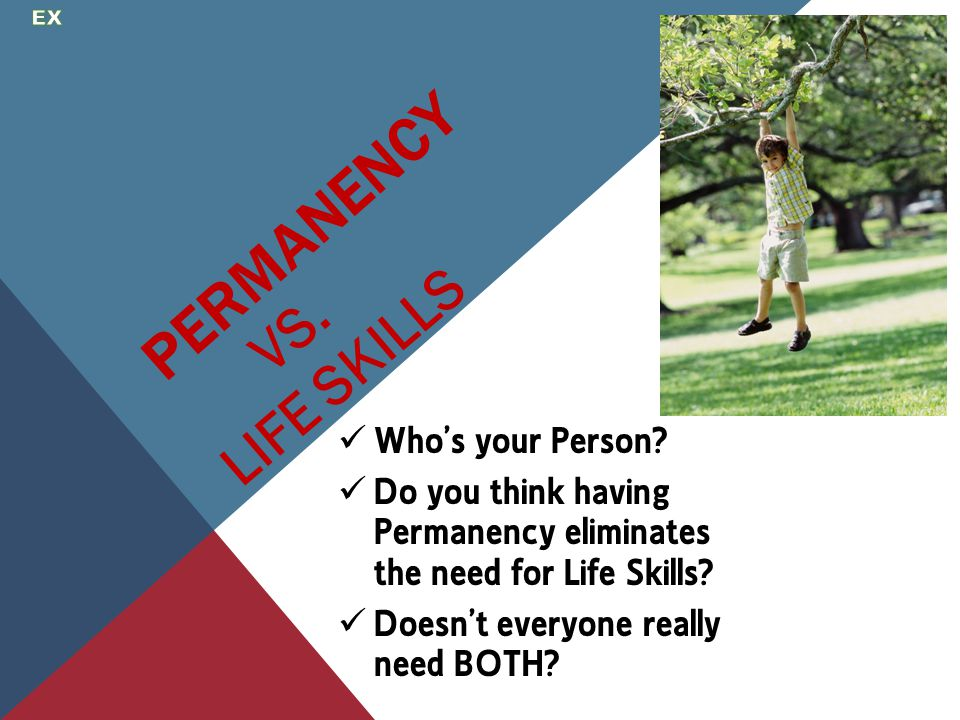 PERMANENCY Who's your Person? Do you think having Permanency eliminates the need for Life Skills? Doesn't everyone really need BOTH? VS. LIFE SKILLS