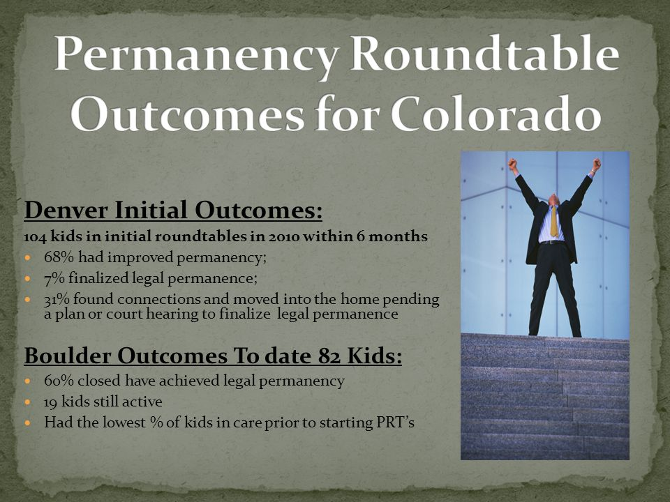 Denver Initial Outcomes: 104 kids in initial roundtables in 2010 within 6 months 68% had improved permanency; 7% finalized legal permanence; 31% found connections and moved into the home pending a plan or court hearing to finalize legal permanence Boulder Outcomes To date 82 Kids: 60% closed have achieved legal permanency 19 kids still active Had the lowest % of kids in care prior to starting PRT's