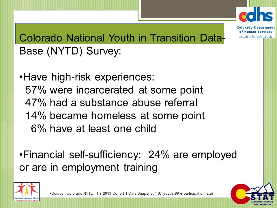Colorado National Youth in Transition Data- Base (NYTD) Survey: Have high ‐ risk experiences: 57% were incarcerated at some point 47% had a substance
