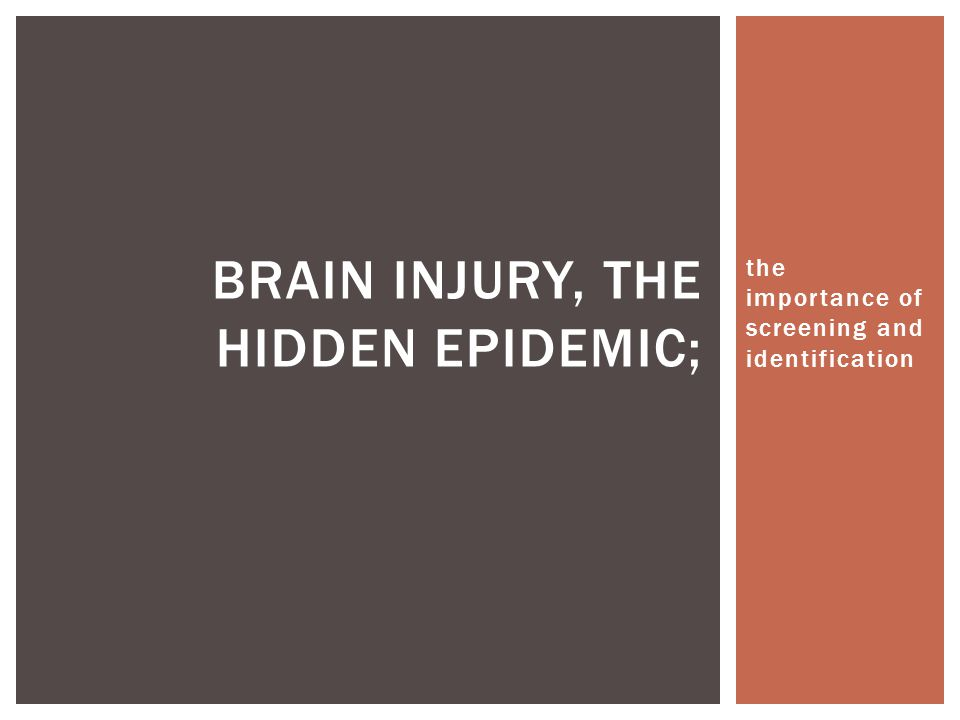 the importance of screening and identification BRAIN INJURY, THE HIDDEN EPIDEMIC;