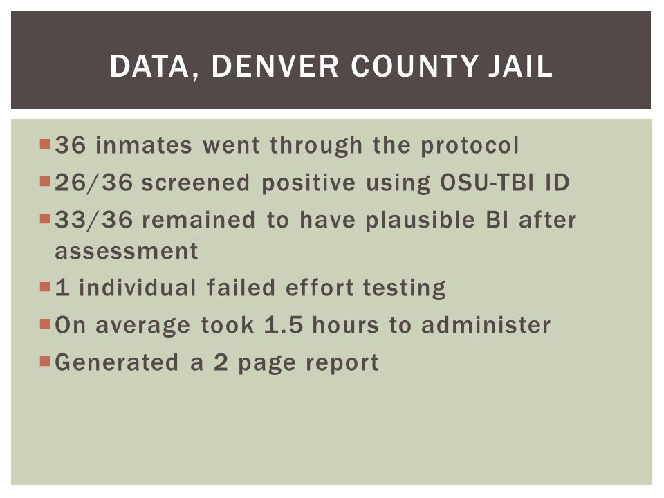  36 inmates went through the protocol  26/36 screened positive using OSU-TBI ID  33/36 remained to have plausible BI after assessment  1 individual failed effort testing  On average took 1.5 hours to administer  Generated a 2 page report DATA, DENVER COUNTY JAIL
