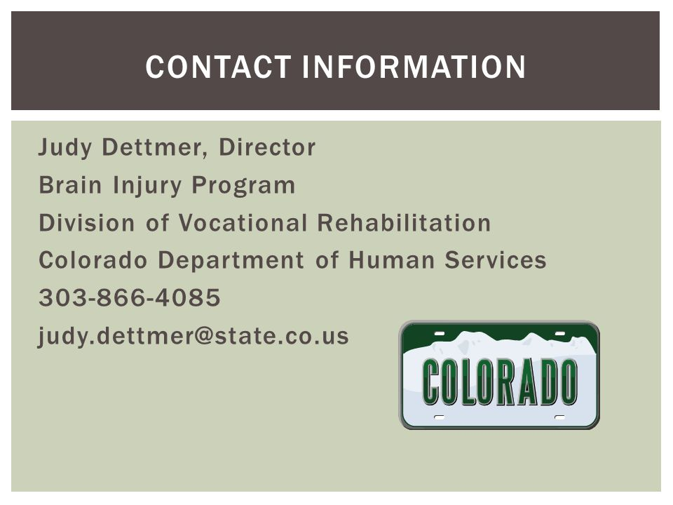 Judy Dettmer, Director Brain Injury Program Division of Vocational Rehabilitation Colorado Department of Human Services 303-866-4085 judy.dettmer@state.co.us CONTACT INFORMATION
