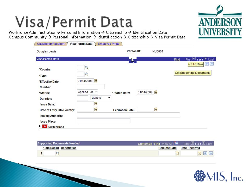 Workforce Administration  Personal Information  Citizenship  Identification Data Campus Community  Personal Information  Identification  Citizenship  Visa Permit Data