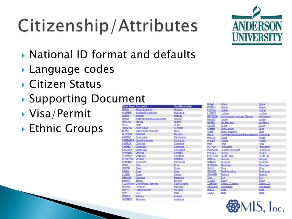  National ID format and defaults  Language codes  Citizen Status  Supporting Document  Visa/Permit  Ethnic Groups