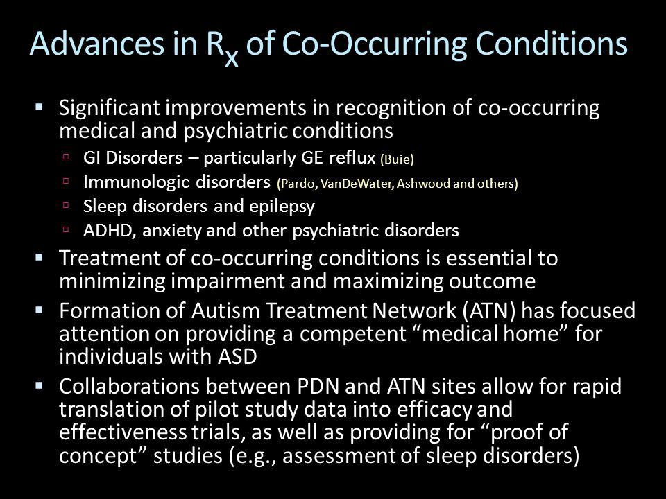 Advances in R x of Co-Occurring Conditions  Significant improvements in recognition of co-occurring medical and psychiatric conditions  GI Disorders