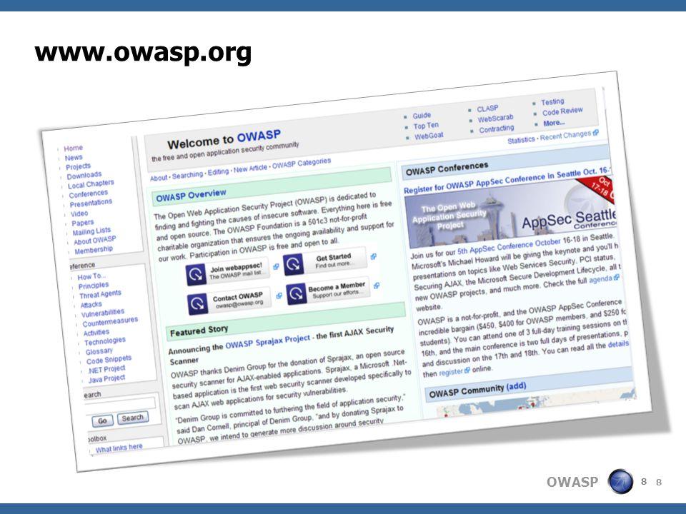 OWASP 39 Agenda  OWASP Introduction  OWASP Project Parade  OWASP Near You?
