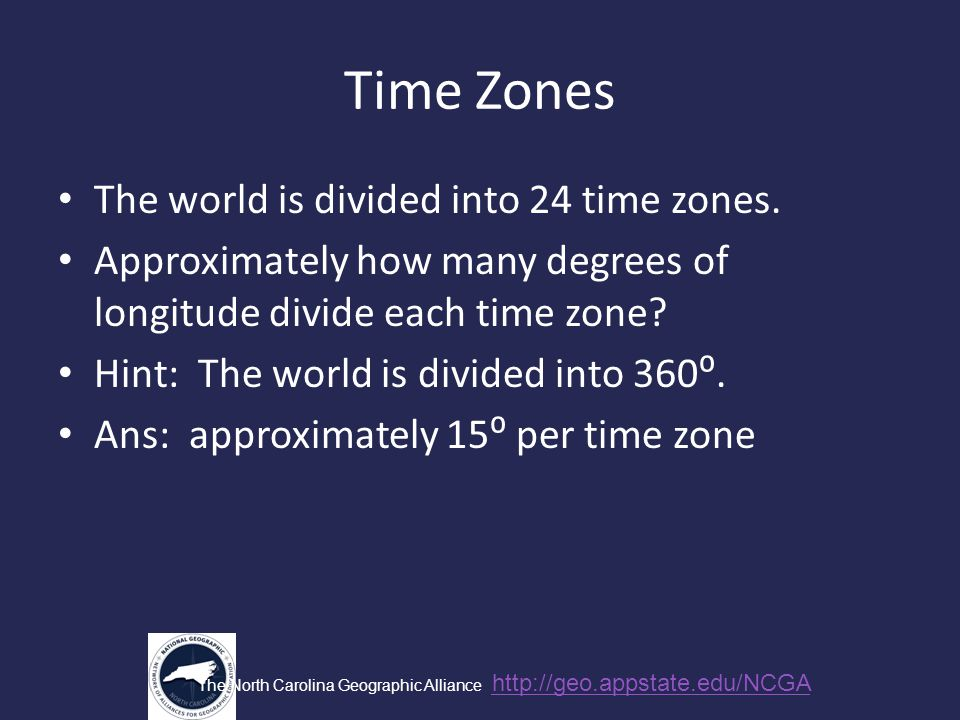 Time Zones The world is divided into 24 time zones.