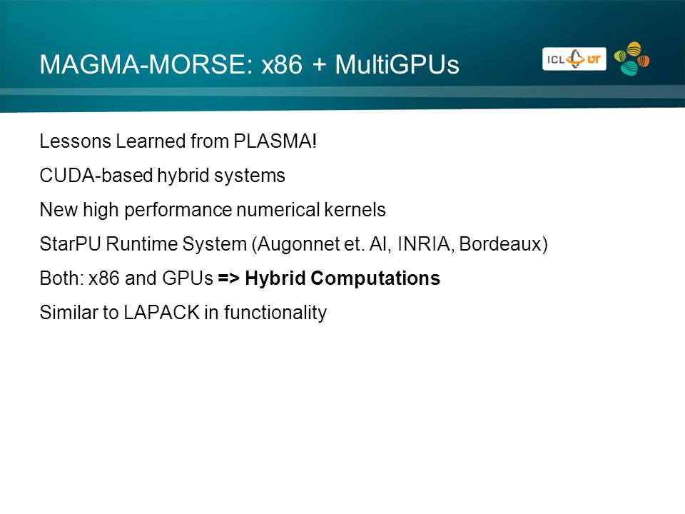 MAGMA-MORSE: x86 + MultiGPUs Lessons Learned from PLASMA.