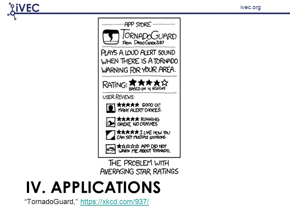 "ivec.org IV. APPLICATIONS ""TornadoGuard,"" https://xkcd.com/937/https://xkcd.com/937/"