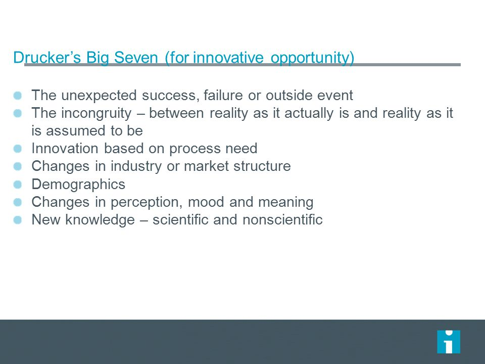 Drucker's Big Seven (for innovative opportunity) The unexpected success, failure or outside event The incongruity – between reality as it actually is