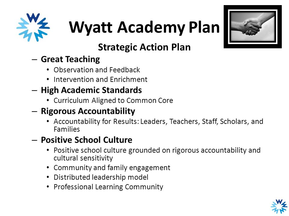 Wyatt Academy Plan Strategic Action Plan – Great Teaching Observation and Feedback Intervention and Enrichment – High Academic Standards Curriculum Al