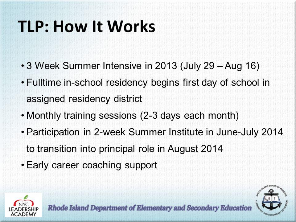 TLP: How It Works 3 Week Summer Intensive in 2013 (July 29 – Aug 16) Fulltime in-school residency begins first day of school in assigned residency dis