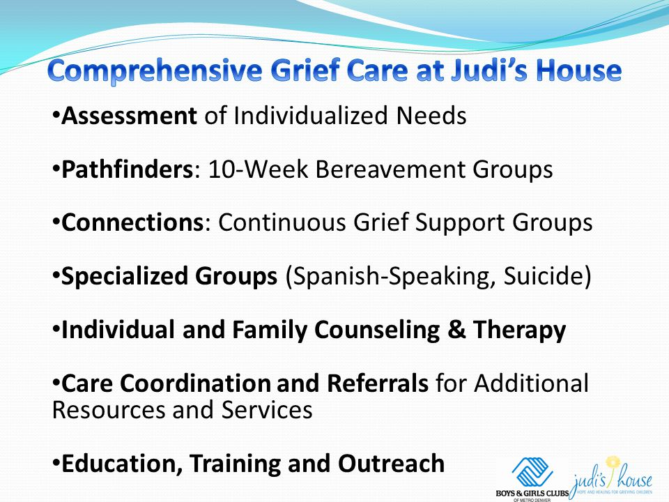 Assessment of Individualized Needs Pathfinders: 10-Week Bereavement Groups Connections: Continuous Grief Support Groups Specialized Groups (Spanish-Speaking, Suicide) Individual and Family Counseling & Therapy Care Coordination and Referrals for Additional Resources and Services Education, Training and Outreach