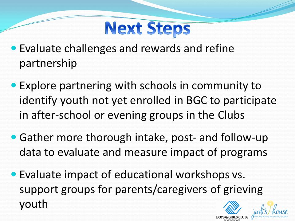 Evaluate challenges and rewards and refine partnership Explore partnering with schools in community to identify youth not yet enrolled in BGC to participate in after-school or evening groups in the Clubs Gather more thorough intake, post- and follow-up data to evaluate and measure impact of programs Evaluate impact of educational workshops vs.