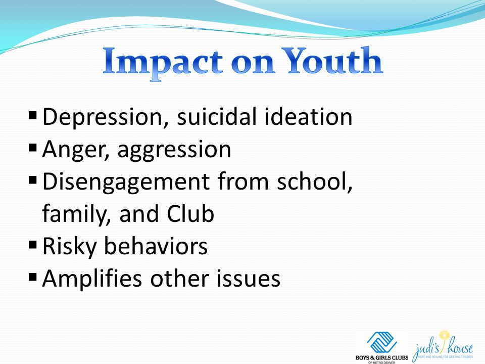  Depression, suicidal ideation  Anger, aggression  Disengagement from school, family, and Club  Risky behaviors  Amplifies other issues