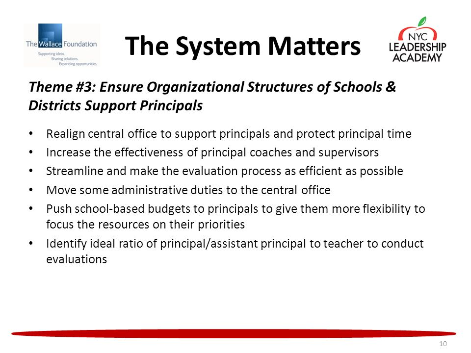 The System Matters Theme #3: Ensure Organizational Structures of Schools & Districts Support Principals Realign central office to support principals and protect principal time Increase the effectiveness of principal coaches and supervisors Streamline and make the evaluation process as efficient as possible Move some administrative duties to the central office Push school-based budgets to principals to give them more flexibility to focus the resources on their priorities Identify ideal ratio of principal/assistant principal to teacher to conduct evaluations 10
