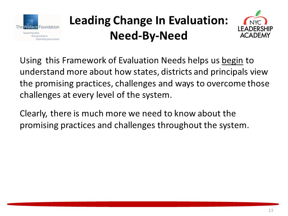 Leading Change In Evaluation: Need-By-Need Using this Framework of Evaluation Needs helps us begin to understand more about how states, districts and principals view the promising practices, challenges and ways to overcome those challenges at every level of the system.