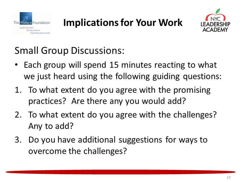 Implications for Your Work Small Group Discussions: Each group will spend 15 minutes reacting to what we just heard using the following guiding questions: 1.To what extent do you agree with the promising practices.