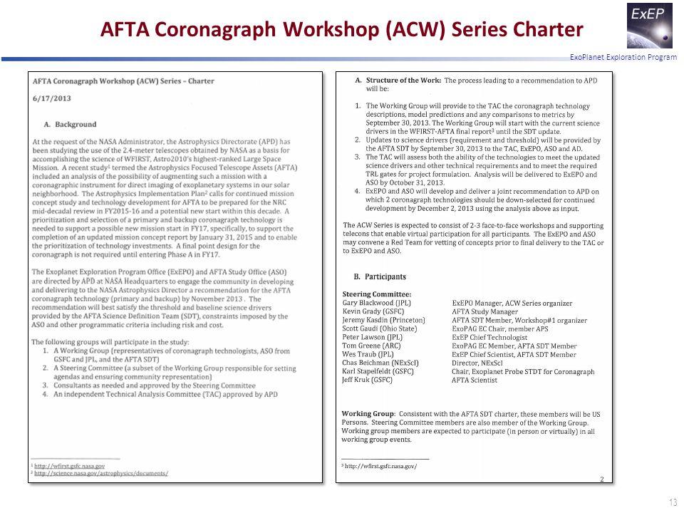 ExoPlanet Exploration Program AFTA Coronagraph Workshop (ACW) Series Charter 13